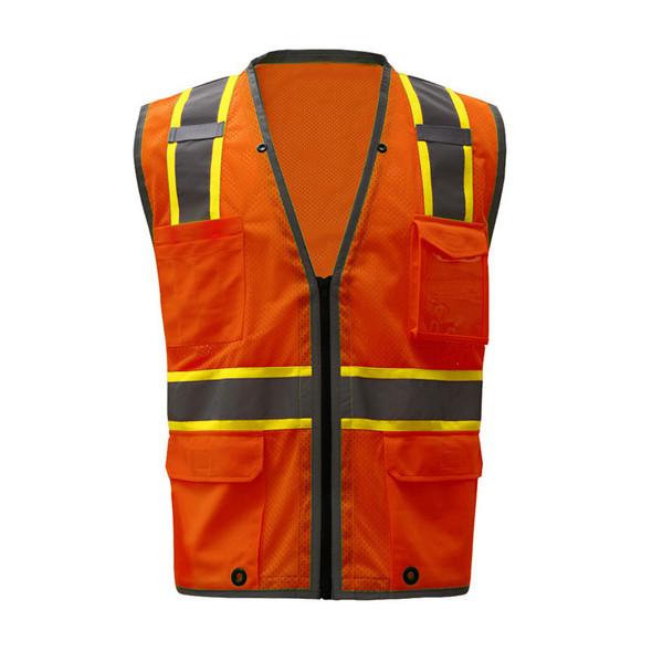 GSS Class 2 Hi Vis Orange Mesh Vest with 2 Tone Trim and iPad Pockets 1702