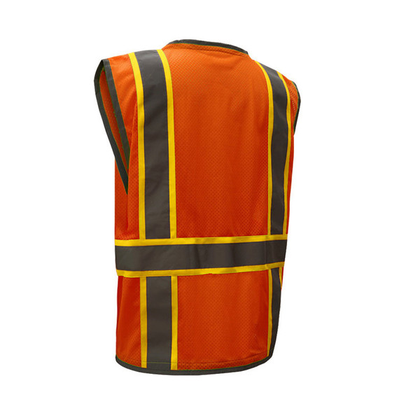 GSS Class 2 Hi Vis Orange Mesh Vest with 2 Tone Trim and iPad Pockets 1702