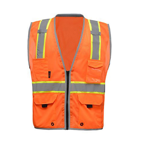 GSS Class 2 Hi Vis Orange Vest with Black Sides and Zipper 1704