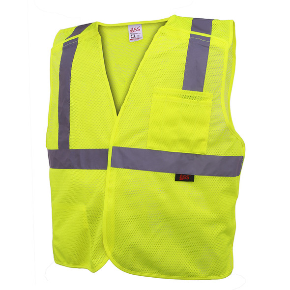 GSS Class 2 Hi Vis Lime 5 Point Breakaway Vest 1801