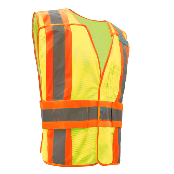 GSS Class 2 Hi Vis Lime Adjustable Vest with 2 Tone Trim 1803 Right Side