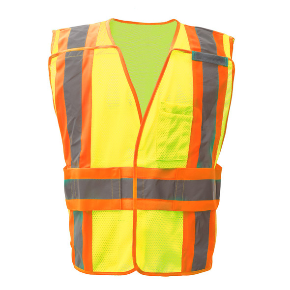 GSS Class 2 Hi Vis Lime Adjustable Vest with 2 Tone Trim 1803 Front