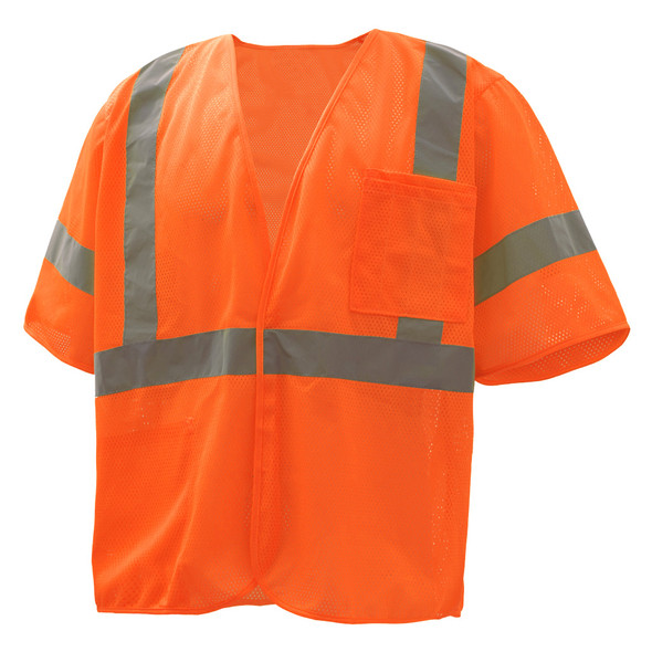 GSS Class 3 Hi Vis Orange Economy Mesh Vest with Zipper 2002 Front