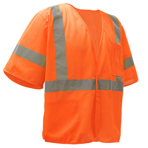 GSS Class 3 Hi Vis Orange Economy Mesh Vest with Hook and Loop 2004 Right Side