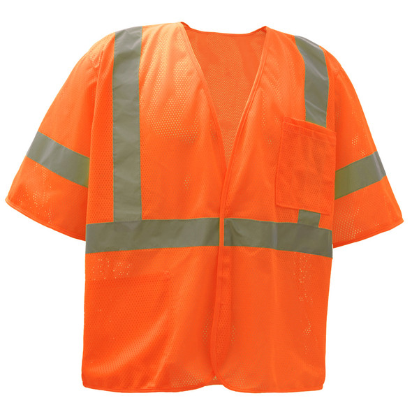 GSS Class 3 Hi Vis Orange Economy Mesh Vest with Hook and Loop 2004 Front