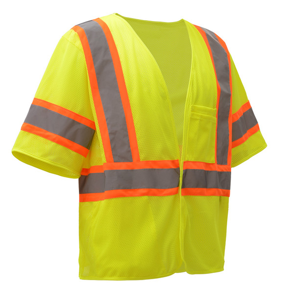 GSS Class 3 Hi Vis Lime Two Tone Economy Vest with Hook and Loop 2007 Left Side
