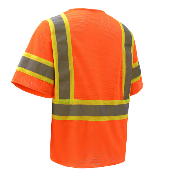 GSS Class 3 Hi Vis Orange 2 Tone Trim Economy Vest with Hook and Loop 2008 Back