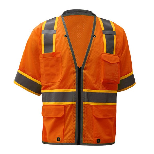 GSS Class 3 Hi Vis Orange Two Tone Mesh Vest with 6 Pockets 2702