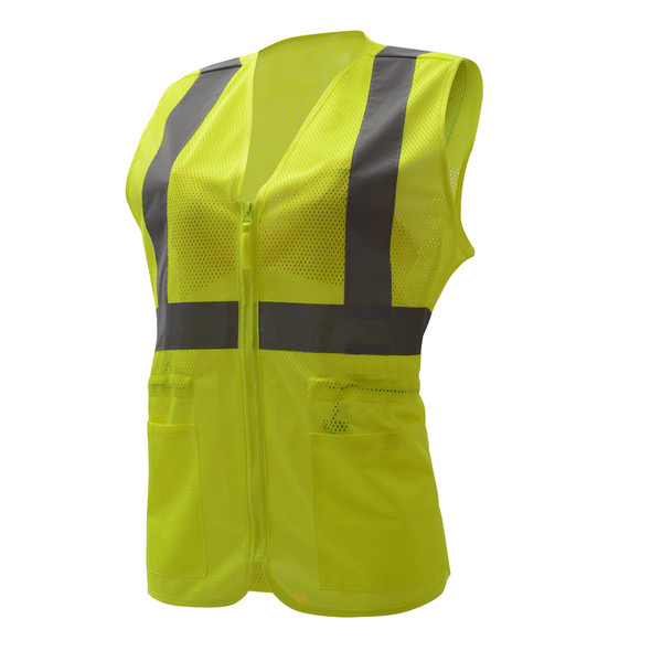 GSS Class 2 Hi Vis Lime Mesh Adjustable Ladies Vest 7803 Side