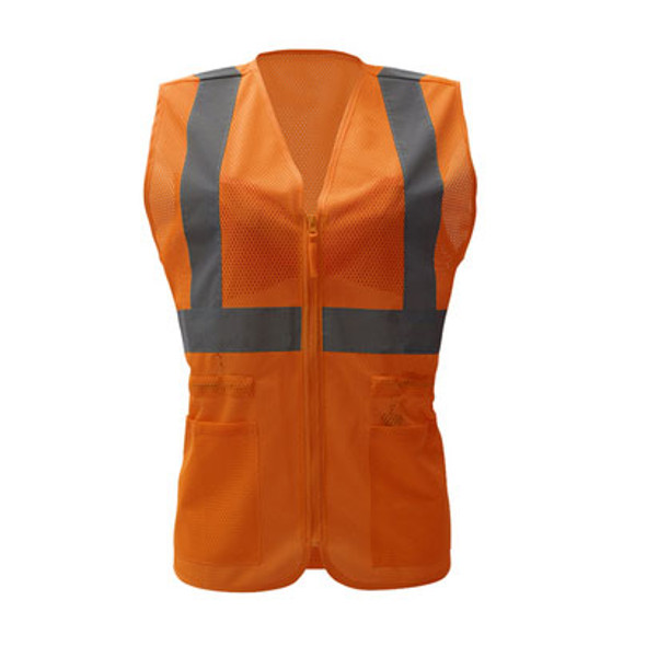 GSS Class 2 Hi Vis Orange Adjustable Mesh Ladies Vest 7804 Front