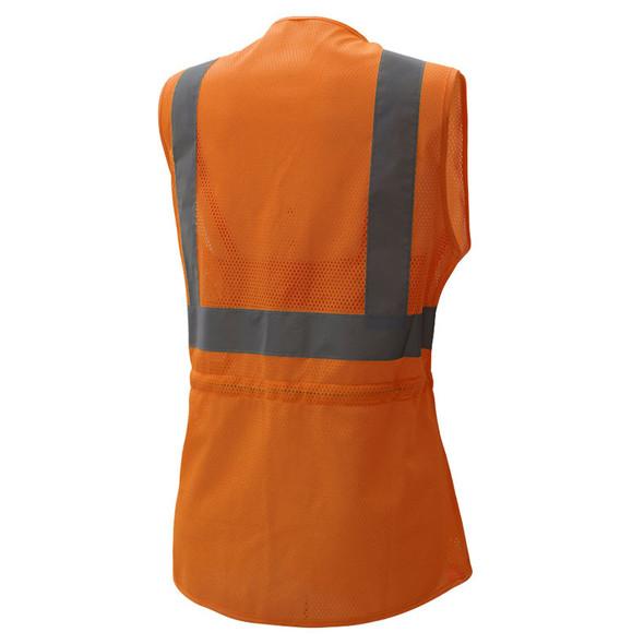 GSS Class 2 Hi Vis Orange Adjustable Mesh Ladies Vest 7804 Back