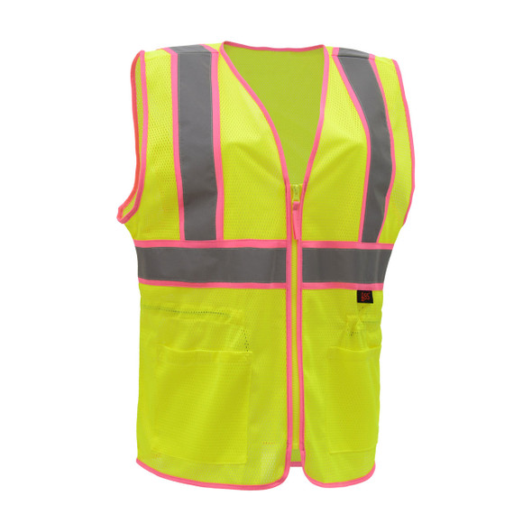 GSS Class 2 Hi Vis Lime Two Tone Ladies Vest 7805 Front