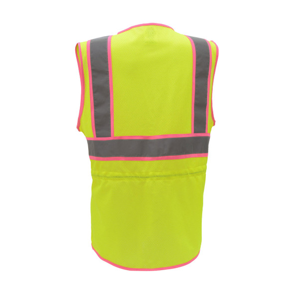 GSS Class 2 Hi Vis Lime Two Tone Ladies Vest 7805 Back