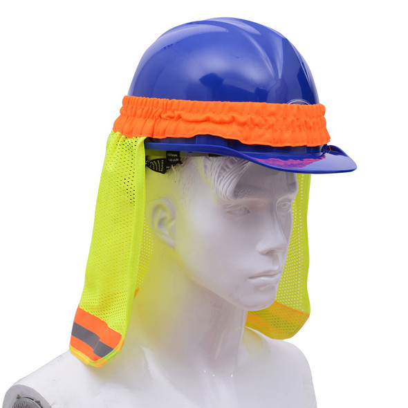 GSS Hi Vis Lime Sun Shield for Hard Hat 9301 Left Side