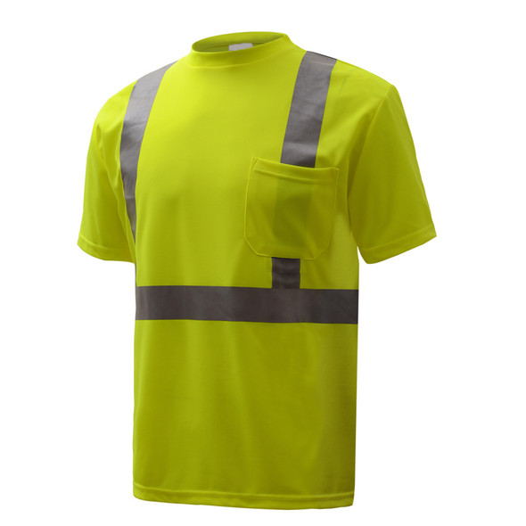 GSS Class 2 Hi Vis Yellow Moisture Wicking T-Shirt 5001 Left Side