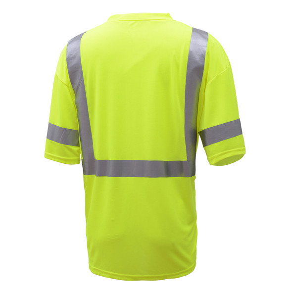 GSS Class 3 Hi Vis Lime Moisture Wicking T-Shirt 5007 Back
