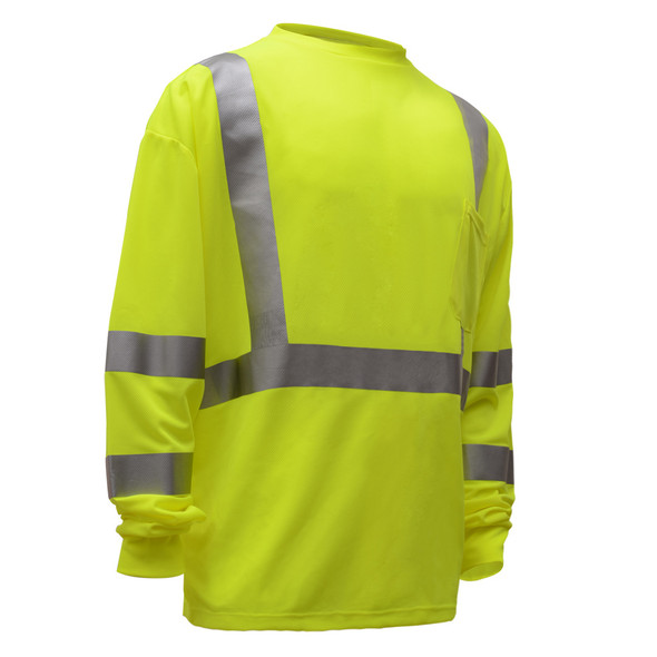 GSS Class 3 Hi Vis Lime Long Sleeve Moisture Wicking T-Shirt 5505 Right Side