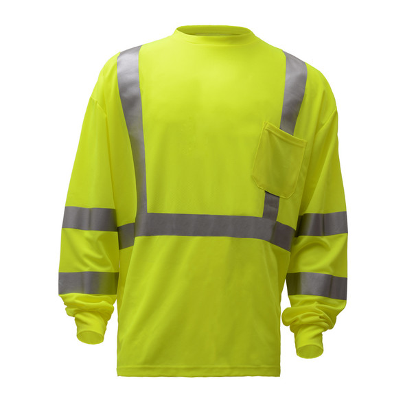 GSS Class 3 Hi Vis Lime Long Sleeve Moisture Wicking T-Shirt 5505 Front