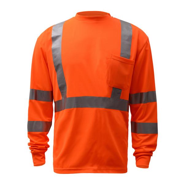 GSS Class 3 Hi Vis Orange Long Sleeve T-Shirt 5506 Front