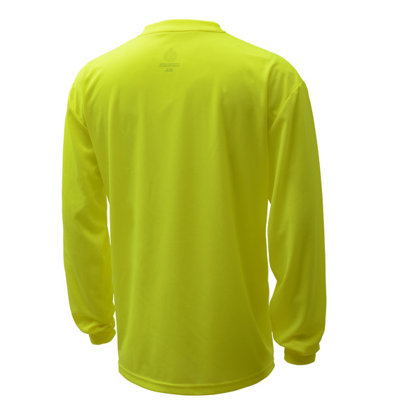 GSS Non-ANSI Hi Vis Lime Long Sleeve Moisture Wicking T-Shirt 5503 Back