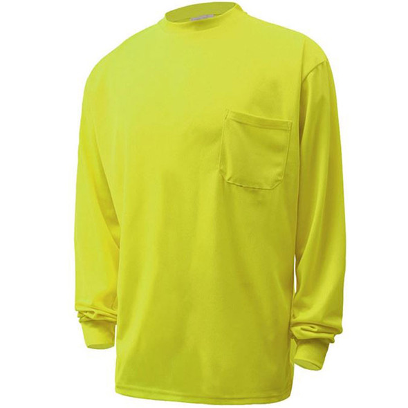 GSS Non-ANSI Hi Vis Lime Long Sleeve Moisture Wicking T-Shirt 5503 Front