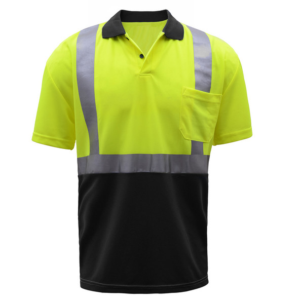 GSS Class 2 Hi Vis Lime Polo with Black Bottom and Collar 5003 Front