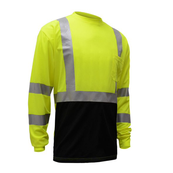 GSS Class 3 Hi Vis Lime Black Bottom Long Sleeve Moisture Wicking T-Shirt 5113 Right Side