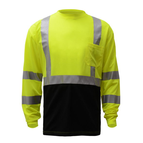 GSS Class 3 Hi Vis Lime Black Bottom Long Sleeve Moisture Wicking T-Shirt 5113 Front
