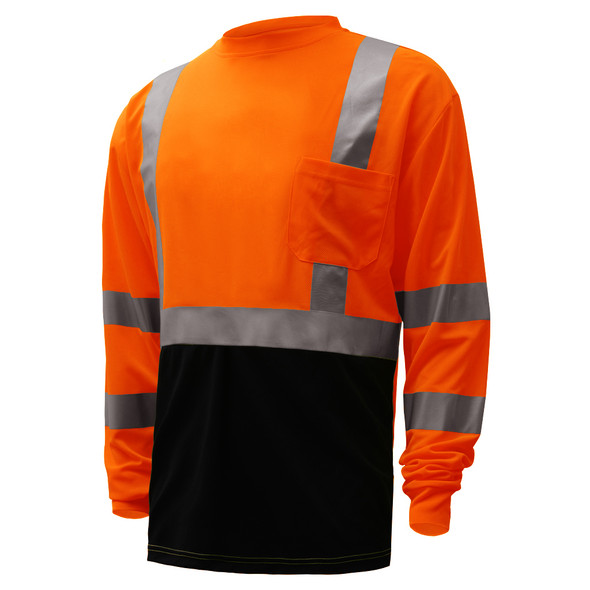 GSS Class 3 Hi Vis Orange Black Bottom Long Sleeve T-Shirt 5114 Left Side
