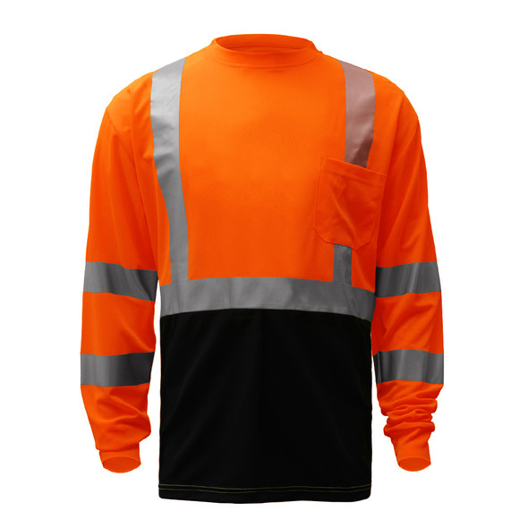 GSS Class 3 Hi Vis Orange Black Bottom Long Sleeve T-Shirt 5114 Front