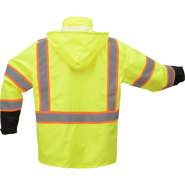 GSS Class 3 Hi Vis Lime Rain Jacket with 2 Tone Trim and Black Bottom 6005 Back