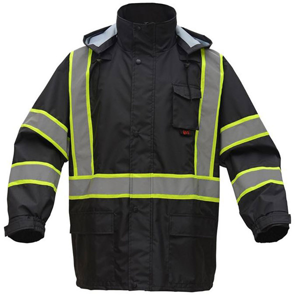 GSS Enhanced Visibility Black Raincoat with Two-Tone Trim 6007