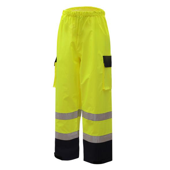 GSS Class E Hi Vis Lime Rain Pants with Black Bottom 6803 Left Side