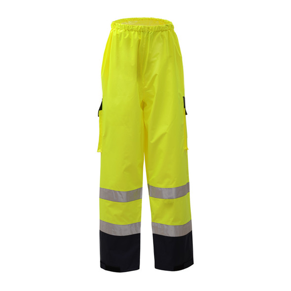 GSS Class E Hi Vis Lime Rain Pants with Black Bottom 6803 Front