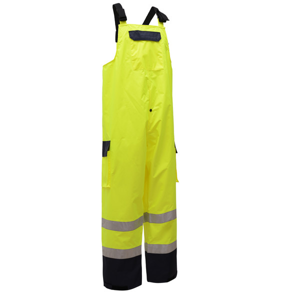GSS Class E Hi Vis Lime Waterproof Rain Bib with Black Bottom 6805 Right Side