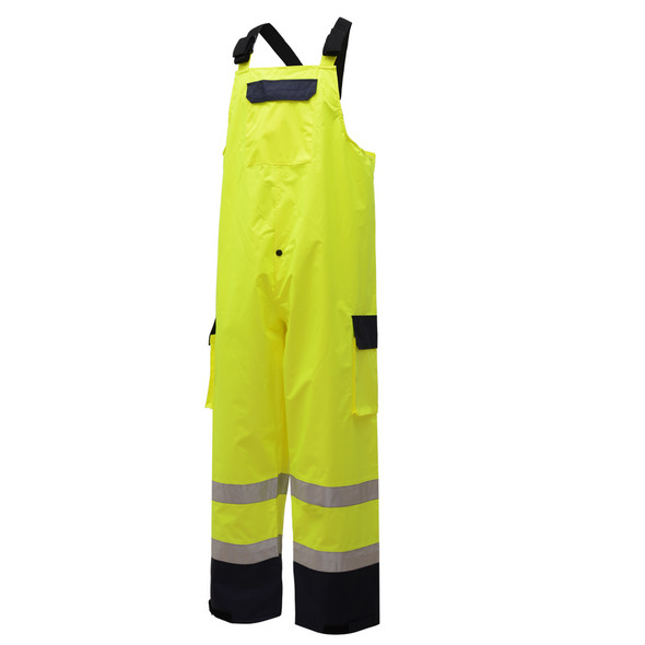 GSS Class E Hi Vis Lime Waterproof Rain Bib with Black Bottom 6805 Left Side