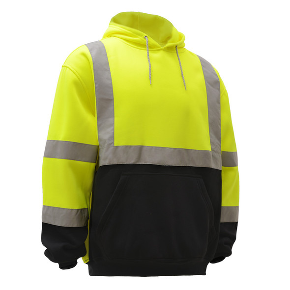 GSS Class 3 Hi Vis Lime Fleece Hooded Black Bottom Sweatshirt 7001 Right Side