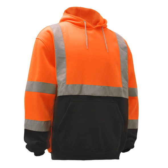 GSS Class 3 Hi Vis Orange Fleece Hooded Black Bottom Sweatshirt 7002 Right Front