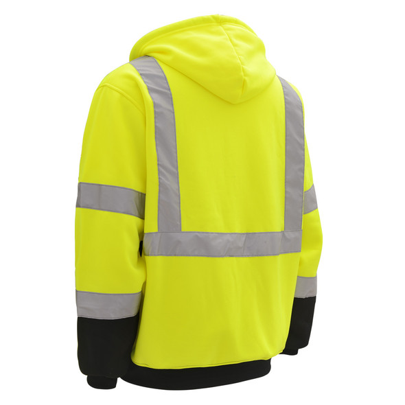 GSS Class 3 Hi Vis Lime Fleece Hooded Sweatshirt with Zipper and Black Bottom 7003 Back