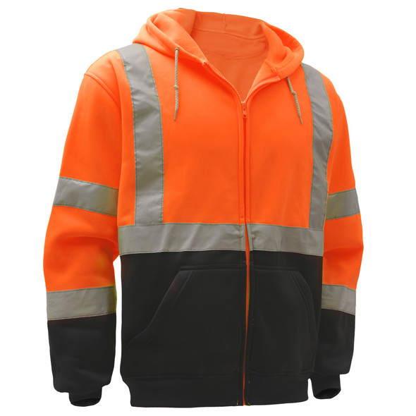 GSS Class 3 Hi Vis Orange Fleece Hooded Sweatshirt with Zipper and Black Bottom 7004 Left Side