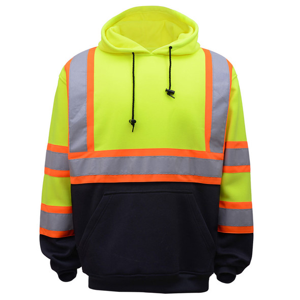 GSS Class 3 Hi Vis Lime Fleece Hooded Sweatshirt with 2 Tone Trim and Black Bottom 7005