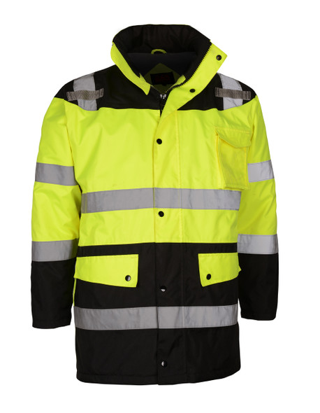 GSS Class 3 Hi Vis Winter Parka with Black Bottom 8501 Front