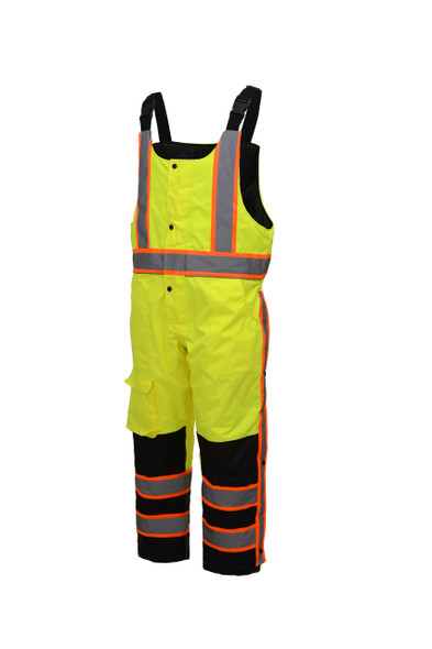 GSS Class E Hi Vis Lime 2 Tone Trim Heavy Weight Insulated Winter Bib 8701 Side