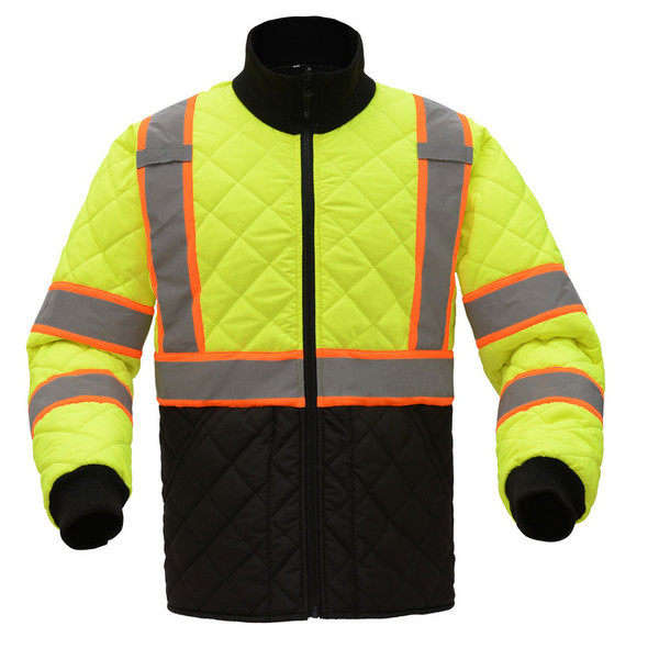 GSS Class 3 Hi Vis Lime 2 Tone Trim Quilted Jacket 8007 Front