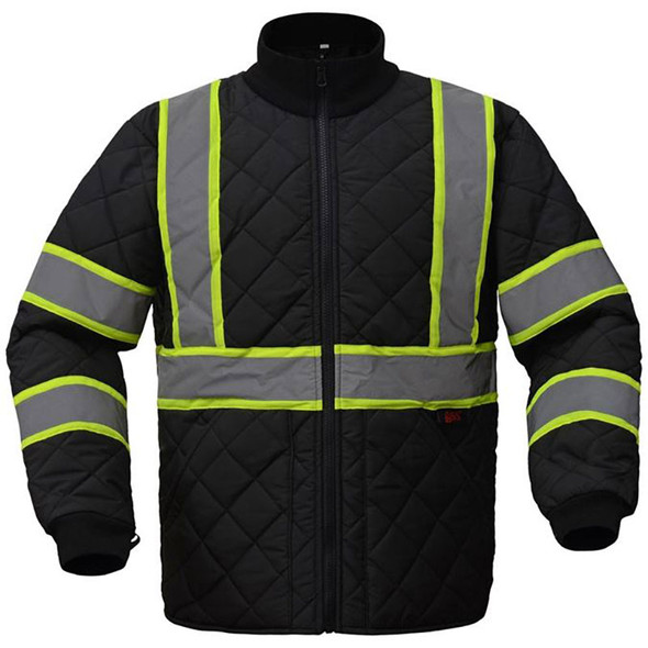 GSS Enhanced Visibility Black Two-Tone Trim Quilted Jacket 8009