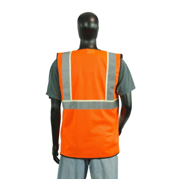 Alpha Workwear Class 2 Hi Vis Illuminating Safety Vest Glow A200 Orange Back