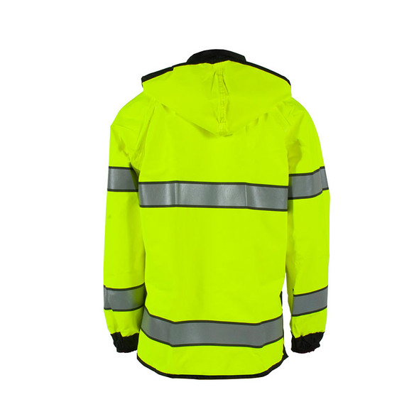 Neese Class 3 Hi Vis Yellow Safe Officer Reversible Police Rain Jacket 4703 Back with Hood