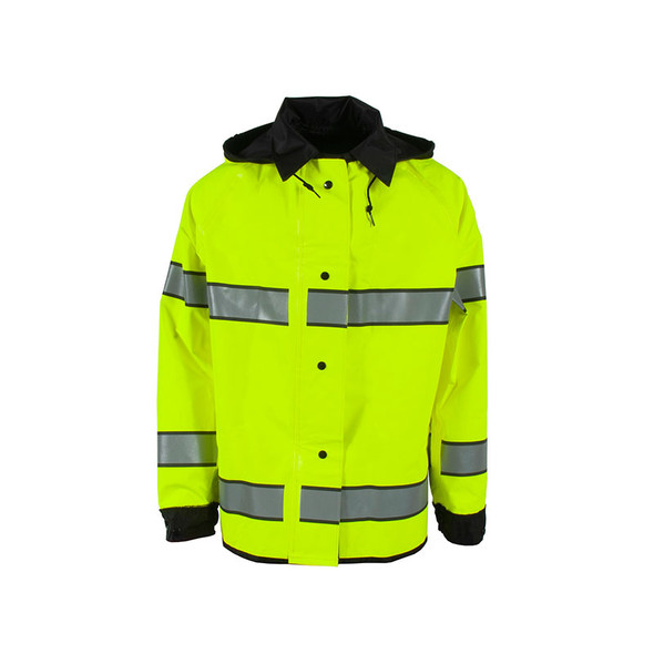 Neese Class 3 Hi Vis Yellow Safe Officer Reversible Police Rain Jacket 4703 Front