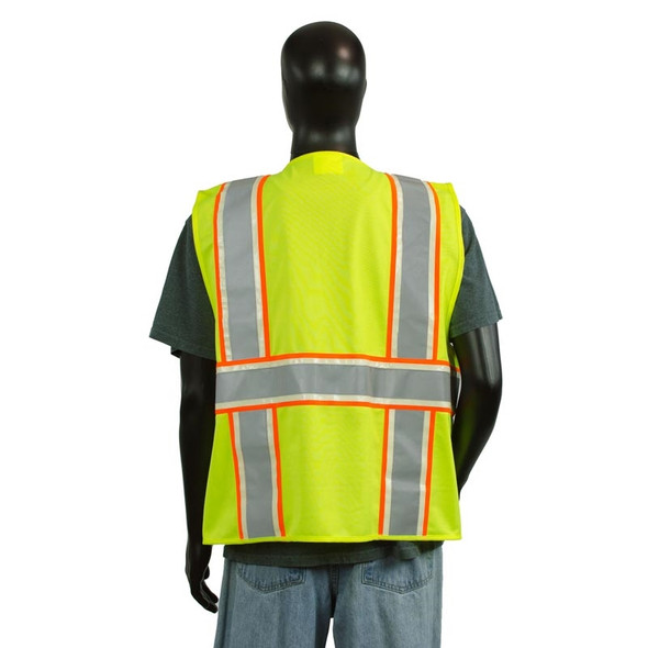 Alpha Workwear Class 2 Hi Vis Glow in the Dark Surveyor Vest A202 Back