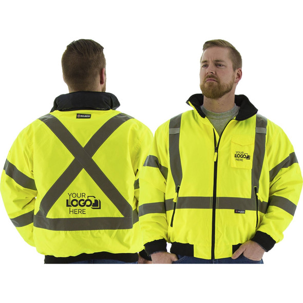 Majestic Hi Vis Class 3 Yellow Bomber Jacket with Reflective X-Back 75-1331 Front/Back